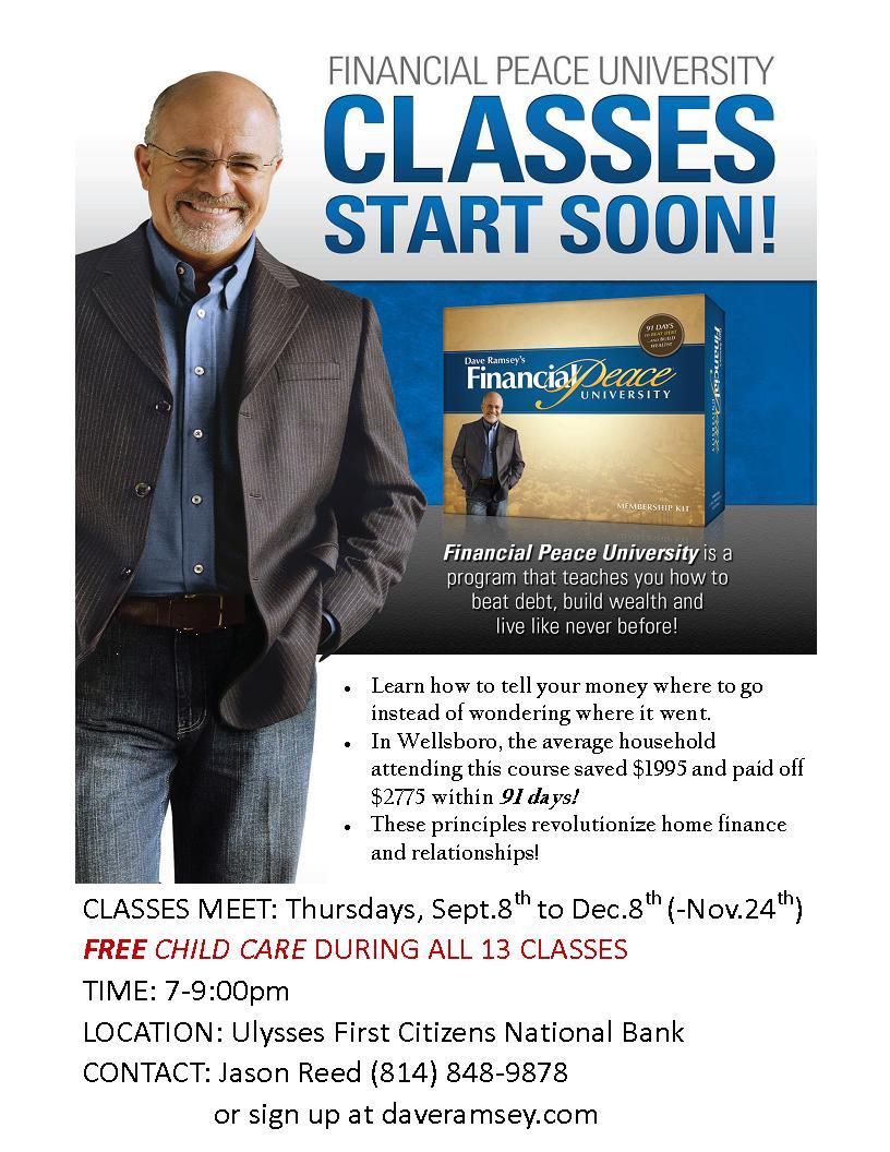 dave ramseys financial peace class Fpu includes the class on audio cd $2850 dave ramsey financial peace university membership kit book cd set pre-owned financial analysis.