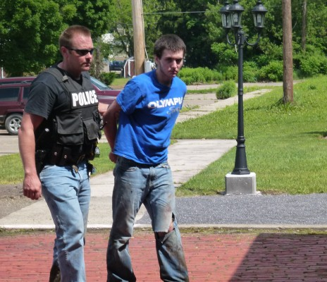 Escaped Inmate Andrew Jeffers escorted into Coudersport Borough Police Department by Sweden Township Chief of Police Bryan Phelps