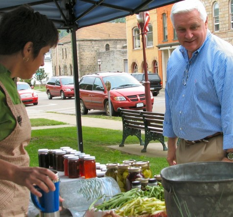 Tom Corbett at Coudersport Courthouse Square Farmers' Market